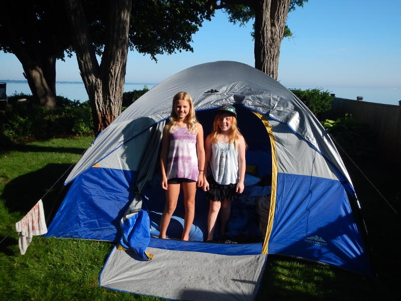 2015 Madi and friend Skyler camp out in out         front yard