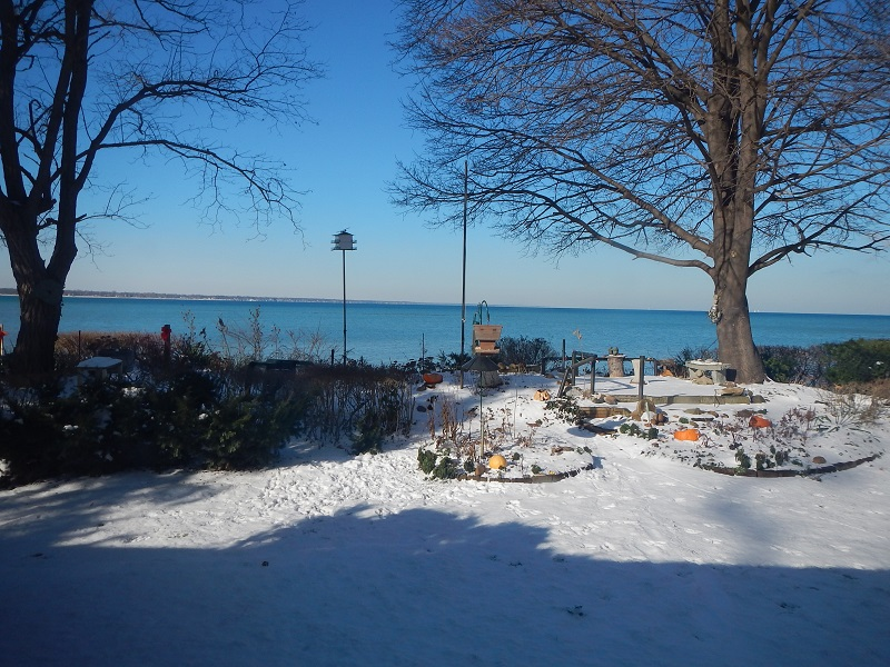 Looking over Lake Huron with pumpkins in the snow