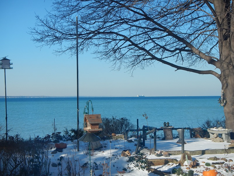 A lake freighter makes it's way down the lake in winter